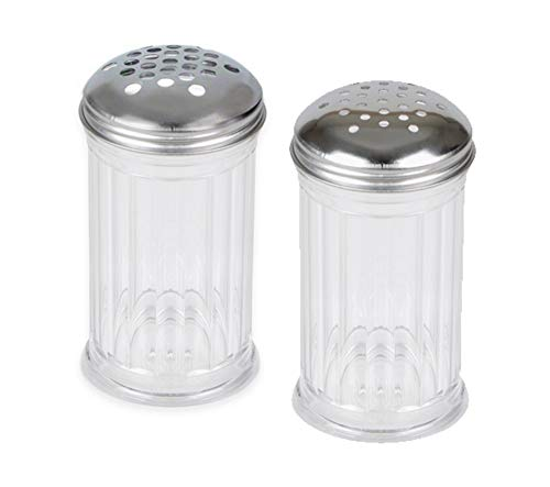 American Metalcraft 12 oz Plastic Cheese Shakers (w/Extra Large Holes Lid + Small Large Holes Lid) by LEV