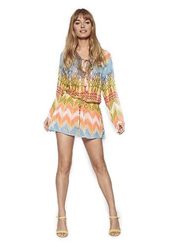 Lola Casademunt Vestido Corto Verano Mujer Kaftan Estampado Semitransparente Cuello V Protector Solar para Cubrir Bikini Moda Hippie Mini Playa (L)