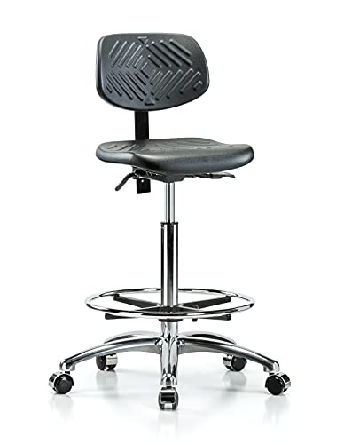 Perch Chrome Ergonomic Industrial Chair with Footring for Hardwood or Tile Floors, Counter Height