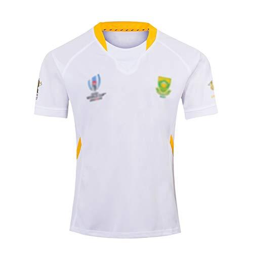 Outskirts Camiseta de Rugby de Sudáfrica de noviembre de 2019, Copa del Mundo de Rugby 2019,1995,2007, Ropa Deportiva de la Copa del Mundo 2019, Camiseta de Rugby (Color : White, Size : XXL)