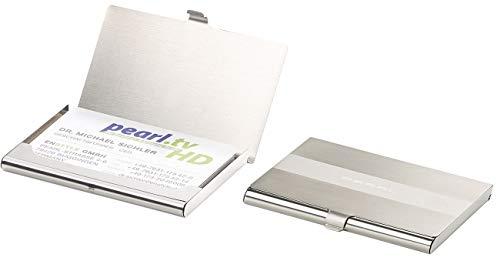 PEARL RFID Schutzhülle: 2er-Set ultradünne Visitenkarten- & Kreditkarten-Etuis, Edelstahl (Visitenkartenbox)