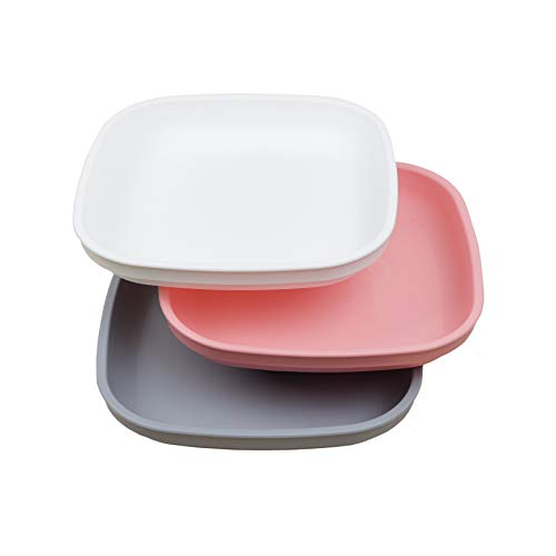 Re-Play Made in USA 3pk - 7.37 Plates with Deep Sides for Easy Baby, Toddler, Child Feeding - Blush, Grey, White (Modern Pink Collection) Eco Friendly Heavyweight Recycled Polypropylene