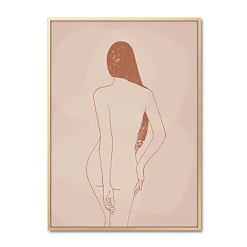 Lienzo Arte de la pared Póster Mujeres escandinavas Sombra Estilo nórdico Pintura Boho Decoración Impresiones de lienzo Decoración estética de la habitación (50X70Cm) -Pulgada sin marco