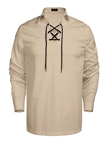 PAUL JONES Mens Cotton Scottish Jacobite Ghillie Kilt Lace-Up Shirt Long Sleeve