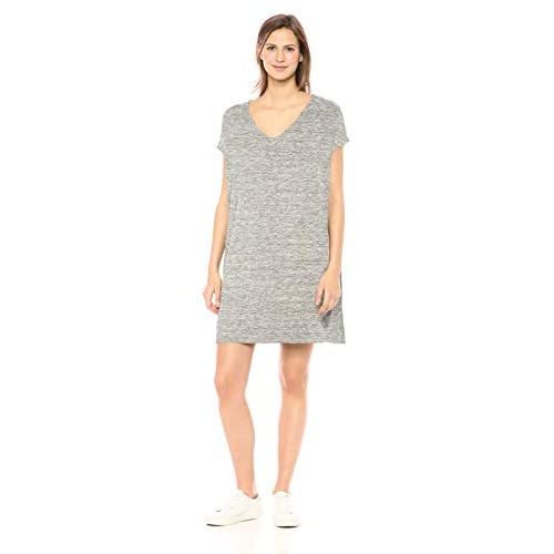 Marchio Amazon - Daily Ritual, abito da donna in morbido Terry, maniche a pipistrello, con scollo a V, Heather Grey Spacedye, US L (EU L - XL)