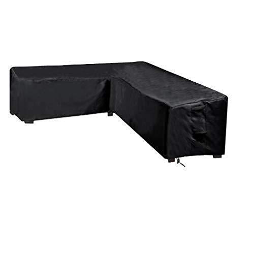 NANKAN Furniture Protector Schwarzer wasserdichter L-förmiger Staubschutz, Eckmöbel-Sofa-Couchtisch-Gartenmöbel-Staubschutz im Freien (Size : Vshaped 286x286x82cm)