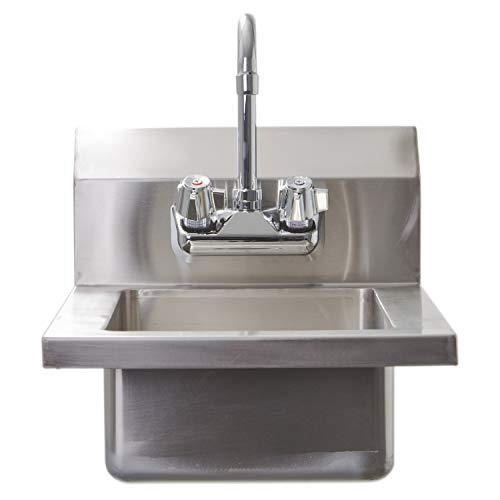 KITMA Stainless Steel Hand Sink for Washing with Faucet, 1 Compartment Commercial Wall Mount Hand Basin for Kitchen, Laundry, Backyard, Garages