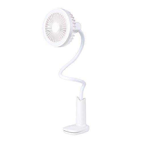 GUCL I Fan, Creativo di personalità Mini USB di Ricarica della Clip Doccia Lampada da Tavolo Piccolo Fan Fan Student Estate Piccoli Ventilatore,Bianca