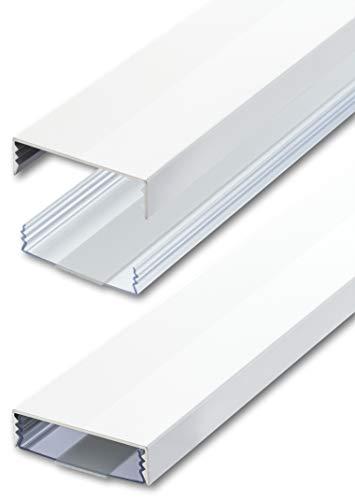 Flacher Design Aluminium Kabelkanal lackiert in Weiss Hochglanz RAL9003 selbstklebend 50 mm x 15 mm Alunovo Kabelschacht Leitungskanal Installationskanal (Länge: 80cm)
