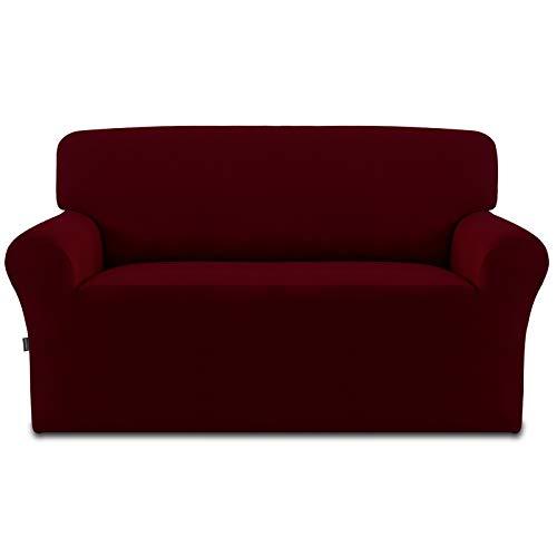 Easy Going - Copridivano elasticizzato in pile – Spandex antiscivolo morbido divano copertura lavabile per mobili con schiuma antiscivolo e fondo elastico per bambini, animali domestici (vino)