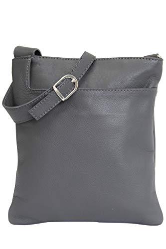 AMBRA Moda Italienische Ledertasche Schultertasche Crossover Umhängetasche Nappaleder Damen Kleine Tasche NL611 (Anthrazit)