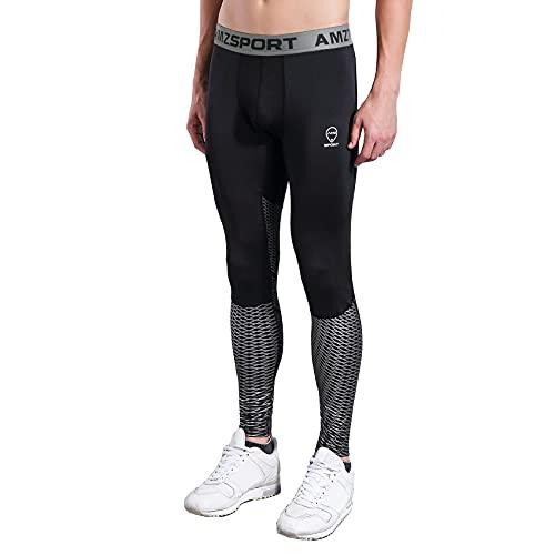AMZSPORT Pantaloni Sportivi a Compressione da Uomo Leggings da Palestra Calzamaglia ad Asciugatura Rapida Argento, L