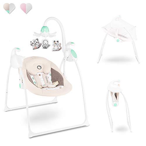 Lionelo Robin Baby Wippe Babyschaukel Elektrisch mit Liegefunktion Baby Schaukel 0 bis 9 kg Moskitonetz 12 Melodien 8 Schaukelgeschwindigkeiten Spieluhr mit Lichtprojektor (Beige/Grün)