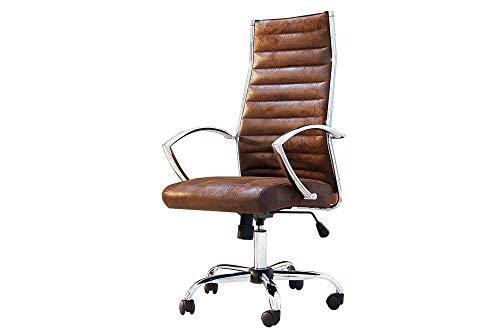 DuNord Design Bürostuhl Bürosessel Office Microfaser antik Coffee Vintage Design Büro Stuhl