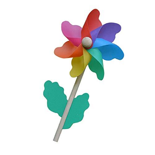 Regenbogen Windmühle Windräder Windspiel Dekor für Garten Balkon Park Rasen usw. aus Kunststoff und Holz - 33cm Höhe