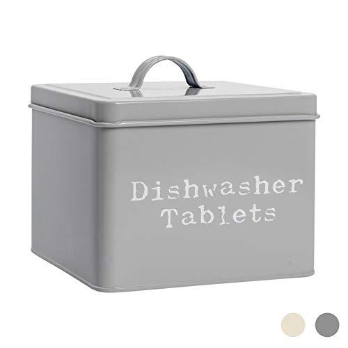 Harbour Housewares Industrial Dishwasher Tablet Storage Tin - Vintage Style Steel Kitchen Storage Caddy with Lid - Grey