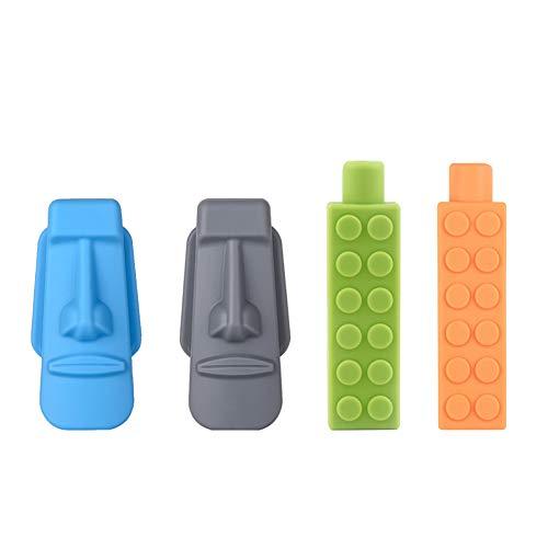Bleistift Topper für Kinder, Yuccer 4 Stück Gesundes Material Silikon Pencil Topper Autismus Spielzeug(Grau + Blau + Grün + Orange)