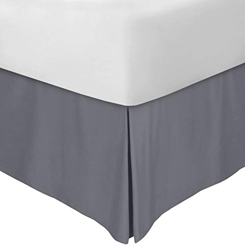 Utopia Bedding Bed Skirt - Soft Quadruple Pleated Dust Ruffle - Easy Fit with 16 Inch Tailored Drop - Hotel Quality, Shrinkage and Fade Resistant (Queen, Grey)