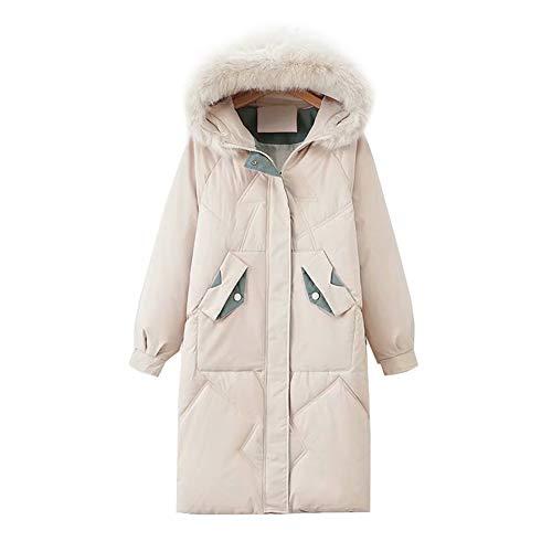 WODENINEK Winter Katoen Jas Womens Fashion Down Jassen Bontkraag Hooded Mid-Length Keep Warm Lange Mouw Vrouwelijke Down Jacket