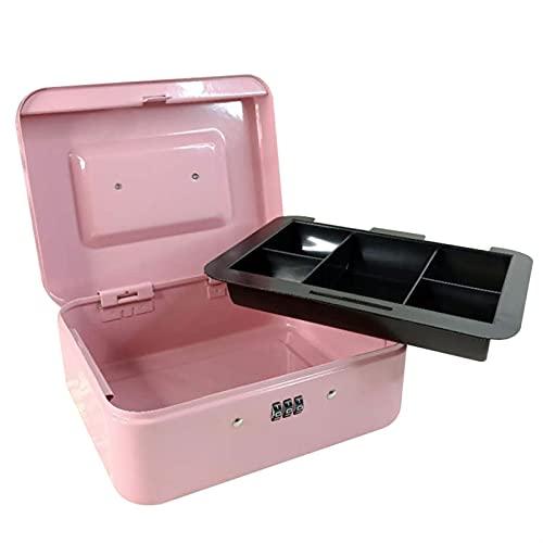 Caja de Metal Seguridad portátil Seguro Caja de Rosa Caja de contraseña Lock Money Money Bank Storage para Oficina de Escuela Hogar 4 Tamaños (Color : L)