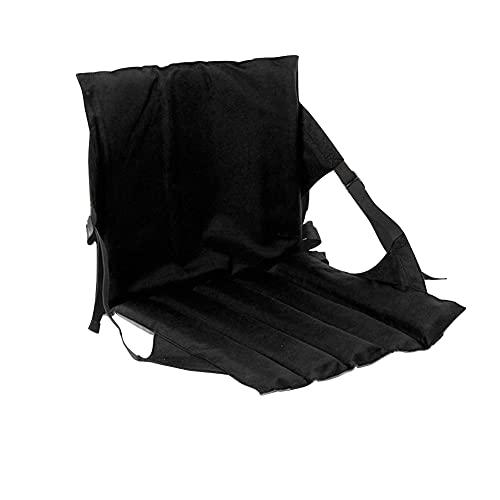 Sitzkissen Sitzmatte Mit Rückenlehne Faltbar Klappbar Thermokissen Stadionkissen Bodenkissen für Kinder Erwachsene Senioren zum Ausflug Camping Wandern Outdoor Dick Gepolstert Robust,(Schwarz)