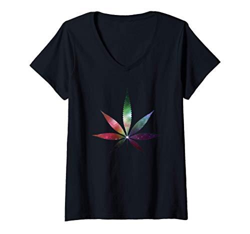 Damen Cannabis Tee Kanabis Marihuana Galaxy Hanfblatt THC T Shirt T-Shirt mit V-Ausschnitt