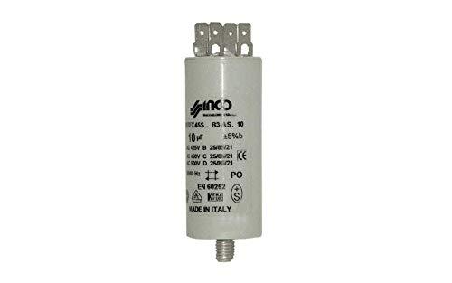 CONDENSATEUR 10 MF 450 V ECROU CENTRAL POUR SECHE LINGE BAUKNECHT - 284979