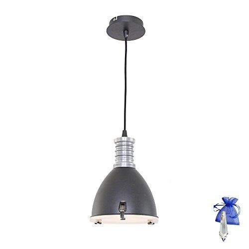 Hängeleuchte Schwarz matt im Vintage Fabrik-Lampen Industrial Design E14 Retro Industrie-Lampe Werkstattleuchte Pendellampe Küchenlampe + Giveaway