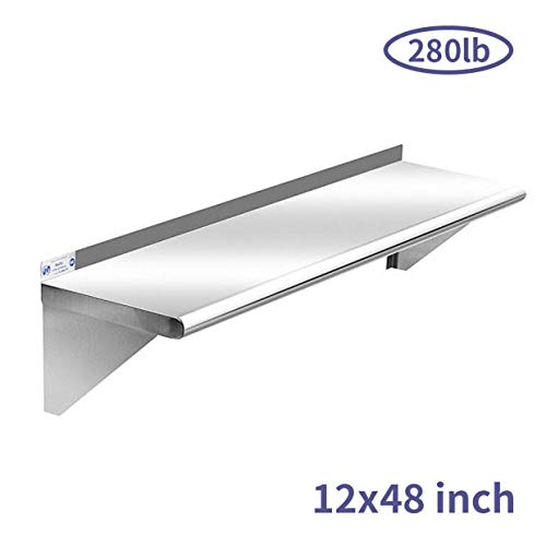 Commercial Stainless Steel Shelf 12 x 48 Inches 280 lb NSF Certificated Wall Mount Shelving for Home Hotel and Restaurant