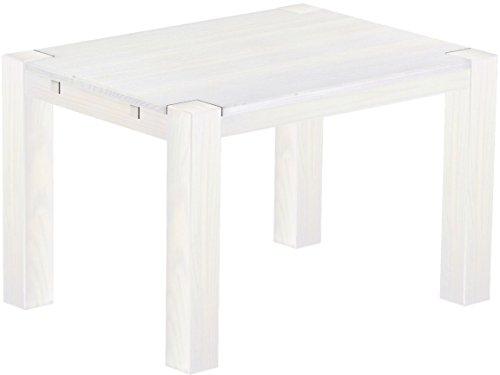Brasilmöbel Esstisch Rio Kanto 120x90x78 cm Pinie Weiss - Holz Tisch Pinie Esszimmertisch Küchentisch - vorgerichtet für Ansteckplatten - ausziehbar
