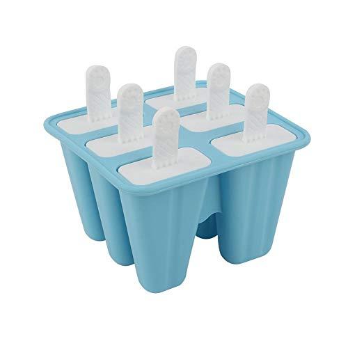 Tarente Silikon-DIY Eiscreme-Hersteller EIS am Stiel Lolly Form-EIS-Würfel-Behälter-Wanne 6-Cavity (blau)