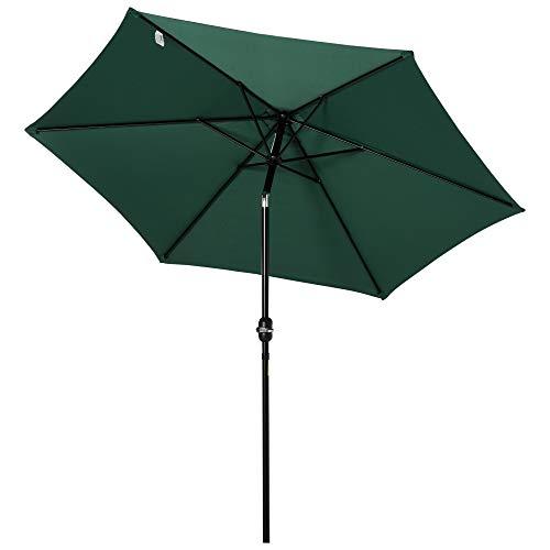 Outsunny Sombrilla Parasol para Jardín Patio Terraza Playa Piscina Reclinable con Manivela Protector UV Φ2.7x2.35m Aluminio