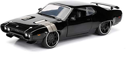 Jada Toys–Spielzeugauto 98292BK–Plymouth GTX–Dom–Fast and Furious 8–Maßstab 1:24–Schwarz