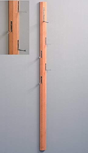 HomeTrends4You 736817 Garderobe / Wandgarderobe mit Klapphaken Palo, Echtholz Kernbuche massiv geölt, 185x8x4cm