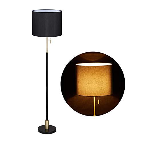 Relaxdays 10032229 - Lámpara de pie (E27, con cable, pantalla de tela, diámetro de 40 cm, 163 cm), diseño vintage, color negro y dorado