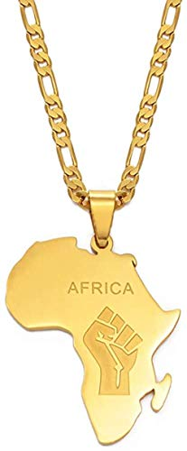 quanjiafu Necklace African Map Fist Symbol Pendant Necklaces Gold Color Africa Maps Black Lives Matter Chains Jewelry 60Cm