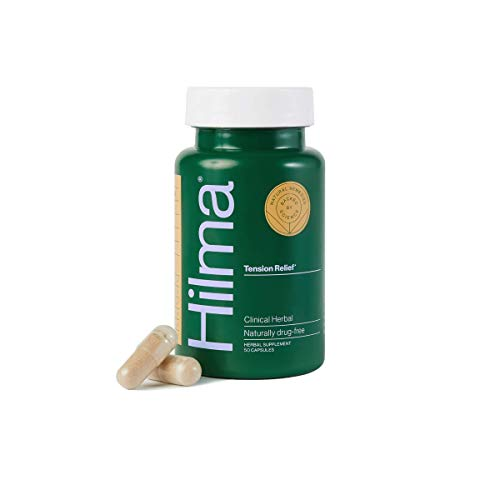 Hilma Natural Tension Relief - Clinically Proven Magnesium, Boswellia & Feverfew - Occasional Headache Relief - Doctor Formulated + Organic Ingredients - 50 Capsules