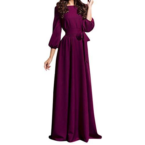 Frauen Sommer lässig Partykleid Laterne Ärmel solide Lange Kleider mit Gürtel