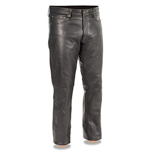 Milwaukee Leather LKM5790 Men's Black Classic 5 Pocket Leather Pants - 34