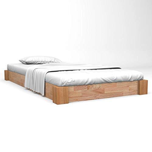 vidaXL Eiche Massiv Bettgestell 140x200 cm Bettrahmen Doppelbett Holzbett Bett