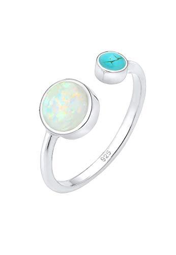 Elli Ring Damen Geo Opal Howlith Boho Offen Verstellbar in 925 Sterling Silber