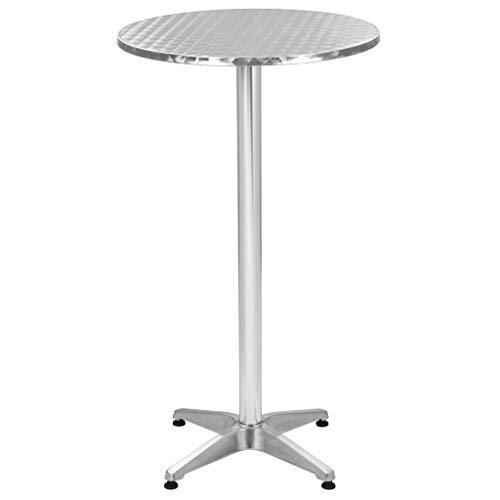 vidaXL Table Pliable de Jardin Table de Patio Table de Balcon Table de Bar Table de Bistro Table de Restaurant Table d'Extérieur Argenté 60x(70-110) cm Aluminium