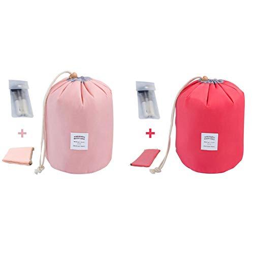 INVODA Travel Cosmetic Bags 2 Packs Waterproof Makeup Bags Multifunctional Bucket Toiletry Bag Barrel