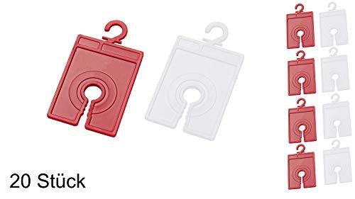 elasto Sockensammler - Laundry - Sockenklammer Sockenclips Family Pack Waschmaschinengeeignet (Weiß-Rot, 20)