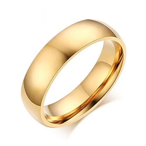 ZIYUYANGAnillos de boda clásicos para hombres y mujeres Color dorado / azul / plateado Joyas de acero inoxidable 15 Goldcolor