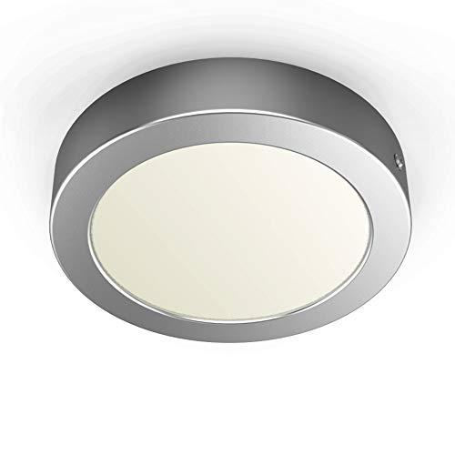 B.K.Licht Pláfon LED redondo incl. módulo Led de 12W I Luz blanco natural 3000K 900lm I Plata mateI Ø170 I Downlight de superficie I Lámpara de techo de B.K.Licht