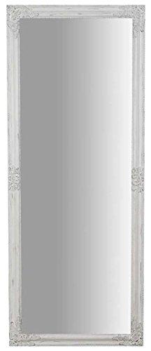 specchio da parete h 180 Biscottini Specchio Specchiera da Parete con Cornice Rettangolare in Legno 72x3x180 cm Finitura Bianco Anticato da Appendere Verticale/Orizzontale