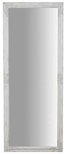 Biscottini Specchio Specchiera da Parete con Cornice Rettangolare in Legno 72x3x180 cm Finitura Bianco Anticato da Appendere Verticale/Orizzontale