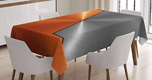 ABAKUHAUS Naranja y Gris Mantele, La maquinaria Moderna 3D, Fácil de Limpiar Colores Firmes y Durables Lavable Personalizado, 140 x 170 cm, Naranja Gris
