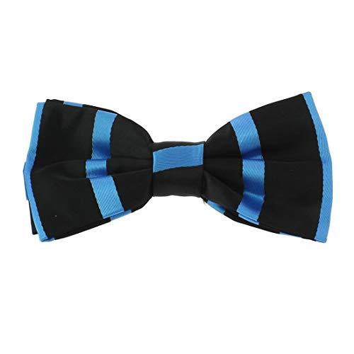 Clj Charles Le Jeune. Noeud papillon noué. URBANE CLUB, Microfibre. Bleu, Club/rayé.
